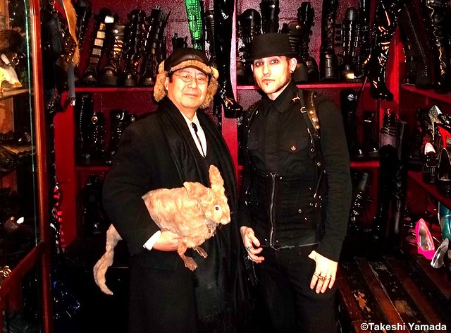 Seara (sea rabbit), Dr. Takeshi Yamada and an artist at Gothic Renaissance boutique in Manhattan, New York on December 23, 2011.  20111223 052. Victorian Fashion. Goth Fashion. Steampunk Fashion.