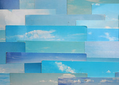 a plane in the blue sky (Werner Schnell Images (2.stream)) Tags: blue sky clouds plane postcard himmel wolken card flugzeug ws postkarten