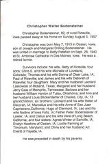 Christopher Bodensteiner's Obituary