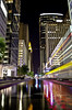 Main St Reflections (theirishmexican) Tags: city railroad light urban 3 abstract color reflection lines architecture night train wow photography colorful downtown texas perspective creative houston surreal officebuilding rail stunning unusual psychedelic wow3 mygearandme