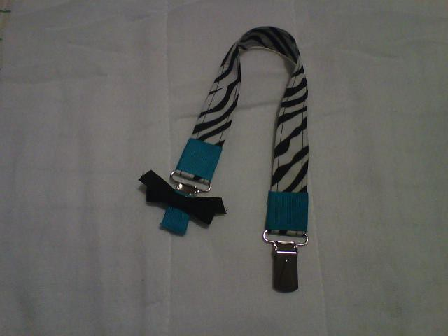 af408bc46144d pacifier clip zebra and teal (rockin babies designs) Tags: boy baby color  girl