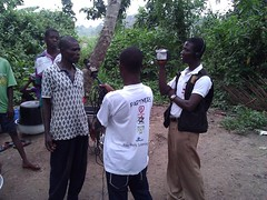 "The Cheerful Hearts team and media man from TVAfrica interviews Unit committee head of the village  concerning their source of drinking water • <a style=""font-size:0.8em;"" href=""http://www.flickr.com/photos/48668870@N02/7097179187/"" target=""_blank"">View on Flickr</a>"