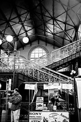 old stairs (d3n3v3r) Tags: blackandwhite bw guy 35mm stair fuji budapest treppe finepix f2 ungarn 2012 hungarian magyarorszag markthalle markethall x100 schwarzweis