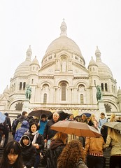 Sacre coeur, by J L Sinclair (Jelausin) Tags: paris slr rain architecture 35mm photography minolta steps documentary coeur sacre umbrellas