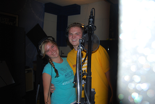 Jacob Nelson and Molly Wineland recording at Twanger Studios