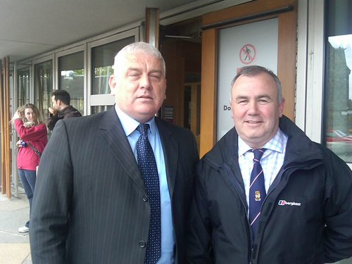 Counciullors Donald Kelly and John NcAlpine at Holyrood for petitions committee on A83