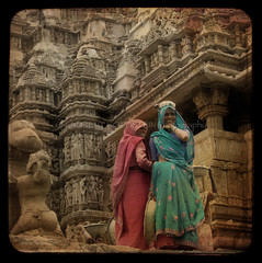 A Work of Women (designldg) Tags: sculpture woman india heritage smile statue architecture temple construction expression labor religion medieval unescoworldheritagesite hindu kamasutra sari jain khajuraho madhyapradesh  eroticsculptures