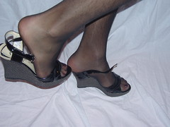 BlanckNylonAndWedges1 (MissAlexiaTv) Tags: male feet toes polish nails pantyhose dangling crossdresser nylon wedges shoeplay