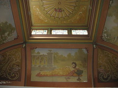 The Hand Painted Stairwell Ceiling featuring Autumn; Reid's Coffee Palace  Lydiard Street, Ballarat (raaen99) Tags: city flowers autumn winter light summer building architecture painting hotel spring inn flora artist seasons panel architecturaldetail painted 19thcentury decoration victorian skylight australia victoria stairwell ceiling artnouveau staircase fourseasons shade handpainted victoriana ornate nouveau allegory anonymous fresco feature ballarat guesthouse goldrush trompeloeil roadhouse unknownartist nineteenthcentury 1880s countryvictoria vestibule lightandshade stylised 1888 belleepoque bellepoque commercialbuilding architecturalfeature coffeepalace goldrushera anonymousartist temperancehotel provincialvictoria lydiardstreet rechabites lydiardst independentorderofrechabites reidscoffeepalace hostlery tappingilbertanddennehy tappingilbertdennehy architecturallydesigned reidsguesthouse temperencemovement temperencemovementofaustralia tappinandgilbert tappingilbert
