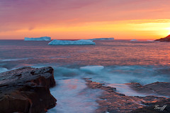 Newfoundland Icebergs at Sunrise (gwhiteway) Tags: travel canada tourism ice nature colors clouds sunrise newfoundland photo flickr colours cove blackhead sharing cape iceberg nl icebergs spear omot mygearandme mygearandmepremium