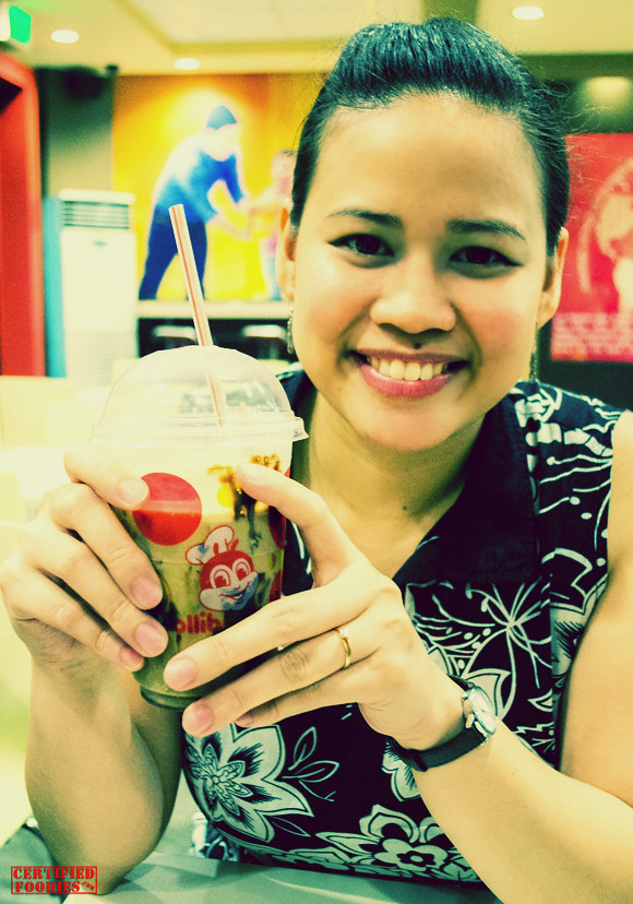 One of my best friends, Jasmin, with her Jollibee Coffee Float - she loves coffee too!