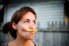 This look suits you perfect. (Joseph Kurtz Photography) Tags: summer woman cute girl beautiful canon fun eos leaf newjersey eyes funny pretty dof emotion bokeh awesome nj depthoffield 5d 28 mustache emotions markii ef2470l canoneos5dmarkii