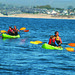 Family kayaking in the Monterey Bay