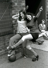 Footy Girls Manchester 1975 (tramsteer) Tags: girls england people manchester football women soccer lancashire textiles 1976 platforms hotpants platformsoles textileworkers tramsteer