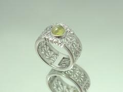 クリソベリル・キャッツアイの指輪 Chrysoberyl Cat'sEye Ring  (jewelrycraft.kokura) Tags: 指輪 chrysoberyl ダイヤモンド キャッツアイ プラチナ ダイヤ 透かし クリソベリルキャッツアイ catseye