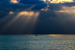sailboat, sunset & storm (Lior. L) Tags: travel sunset sea storm beach nature sailboat