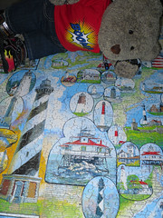 'merican litehouses (pefkosmad) Tags: bear ted toy stuffed soft teddy fluffy hobby puzzle leisure jigsaw madeinusa pastime 1000pieces americanlighthouses tedricstudmuffin whitemountainpuzzlesinc extralargepieces