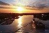fraser river sunset (PiscesDreamer) Tags: sunset summer sun canada marine britishcolumbia richmond tugboat tug runway barge fraserriver seaisland northarmfraserriver