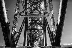 Big Four Pedestrian Bridge (Mark Wingfield) Tags: bridge ohio white mist black water rain fog night river dark outside outdoors lights evening nikon iron ky tripod indiana adventure louisville d610 kyntucky