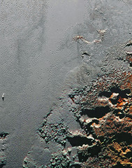 The Shores of Sputnik Planum, variant (sjrankin) Tags: mountains ice pits edited nasa pluto nitrogen waterice newhorizons sputnikplanum 11june2016 frozennitrogen
