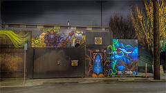 CANNED HEAT GLASS STUDIO -53377- (Terry Frederic) Tags: door longexposure usa streets art night oregon photoshop buildings portland streetscene hdr canon5dmkiii nikhdrefexpro terryfrederic topazadjust5processed topazdenoiseprocessed lightroom65processed