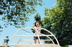 Victory Girl ( aikawake) Tags: park summer portrait people green nature smile sunshine children fun happy kid big high kyoto child play yeah outdoor good awesome happiness sunny slide victory v laugh   ricohgr ya kidz sunnyday    happyday     naturelight