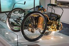 WolseleyTriCar (MaxwellSoul) Tags: green classic cars vintage gold spokes workshop british 1896 gaydon tricar woseley worldcars britishmotormuseum