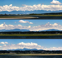 Mud Bay & Northern Mountains (Split Panorama) (A.G. Buron Photography) Tags: blue panorama mountains seaweed water vancouver clouds bluesky surrey burnaby crescentbeach vancouverbc alexfraserbridge surreybc mudbay burnabybc northernmountains mountainpanorama armandburon