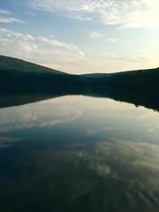 Reflective Lake (emtay15) Tags: blue lake mountains reflection tree nature water clouds landscape outside outdoors fishing dock waterfront horizon reflective