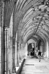 20120425_F0001: Visiting the Canterbury Cathedral cloister hallway (wfxue) Tags: roof people blackandwhite building stone architecture hall pattern cathedral pillar arc canterbury tourist structure ceiling hallway cloister visitor canterburycathedral shallowdof