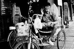 Say That Again (Graham Meyer) Tags: street portrait blackandwhite bw thailand fuji bangkok oldman stranger elderly cheerful myneighborhood spontaneous x100 wongwianyai