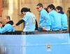 Pablo Zabaleta, Carlos Tevez and Aleksandar Kolarov Manchester City Premier League Title victory parade. Players and staff of Manchester City parade the English Premier League Trophy through the city centre from an open-top bus Manchester, England