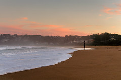 (danielle kiemel) Tags: ocean autumn sea portrait man fall beach water landscape evening waves photographer dusk small perspective may strangers australia nsw centralcoast goldenhour 2012 waterscape daniellekiemel wamberalbeach onbeingsmall