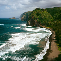 Pololu Valley (tyler hayward) Tags: ocean travel 120 6x6 film analog forest mediumformat square landscape hawaii coast paradise waves fuji slide hasselblad valley 500c vista bigisland provia breathtaking planar pololu 80mm carlzeiss blacksandbeach whatahike