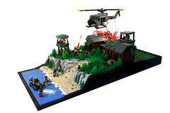 "Brickarms Forums 'Nam Scene Contest - ""Lovely Rita"" (it) Tags: beach water river boat war lego c contest vietnam huey v prototype rib lit tunnels vc nam forums napalm dingy 2012 1960 vietcong landings choppa brickarms fliplit"