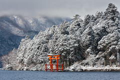 Lake Hakone (peterderooij) Tags: lake snow water japan landscape shrine asia religion shinto kanagawa hakone honshu  shintoism kantoregion hakonemachi kanagawaken   honsh kanagawaprefecture  kantchih  ashigarashimogun kantregion ashigarashimodistrict