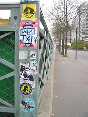Paris / Vinyl survives (freaQ) Tags: urban streetart happy sticker stickerart character paste stickers cartoon vinyl adhesive printed 2012 handdrawn combo stickercombo straatkunst stickerpack freaq stickertrade