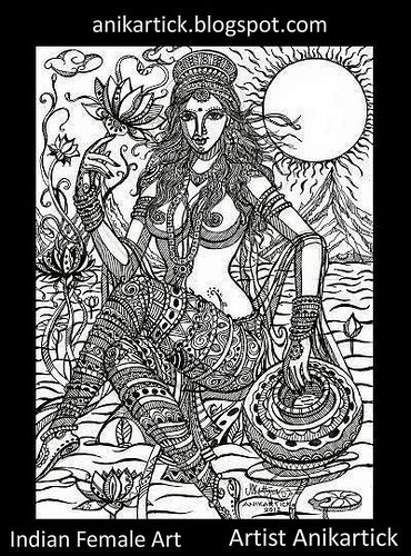 Indian Woman Art - Pen drawing 022 - Artist Anikartick,Chennai,India