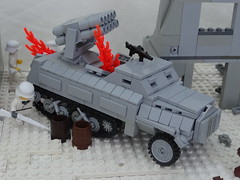 burning sd kfz 4/1 (BeLgIuM ww2 bUiLdeR) Tags: world 2 war lego russia front ii german ww2 vs eastern russians t34 t3476 pak36