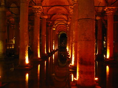 Basilica Cistern in Istanbul, Turkey (Brandon46142) Tags: blue water canon turkey underground ancient europe basilica may istanbul mosque peninsula sophia turkish byzantine turk cistern 2012 constantinople hagia byzantium sarayburnu g9