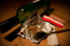 Addiction (jimj0will - DISABLED by a change too many!) Tags: stilllife bottle foil spoon alcohol drugs addiction tabletop rizla blackened odc odc2 jimj0will jimjowill