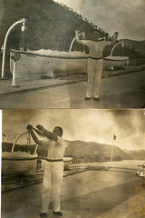 Captain Arthur Wesley Dixon on the deck of paddle steamer 'Sainam' (Hong Kong, Canton and Macau steamboat company). Xi River, China. Exercising with Indian clubs. (benicektoo) Tags: china vintage ships victorian indianclubs vintagephotographs foundphotographs xiriver