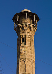 Minaret Of Al-Atroush Mosque, Aleppo, Syria (Eric Lafforgue) Tags: travel blue sky color colour vertical closeup architecture outdoors photography day loudspeaker minaret islam religion nopeople mosque carving arabic arabia syria ornate clearsky aleppo siria levant syrien syrie placeofworship 279 sirja traveldestinations colorimage suriye   syri  sria szria  westernasia    suriah sirija  cp  sora alatroush