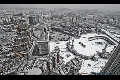Crowded Makkah (ianwar horizon) Tags: blackandwhite white mountains realestate muslim towers hilton mosque clocktower cranes holy saudi hotels roads haram saudiarabia mecca intercontinental expansion makkah   ibraheem kaaba         kingabdulaziz  minarates   alkhaleel jabalomar daraltawhid  jodp shamiyyah