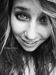You make me sing. (FadedKate) Tags: portrait bw eye me girl beautiful make look photo lyrics eyes pretty you quote kate makeup dramatic sing mascara brunette michaelbuble quoted katiebowers fadedkate