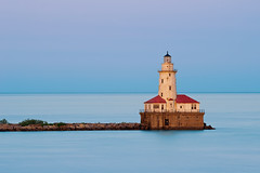 Chicago Harbor Light. (Rudi1976) Tags: travel sunset red lighthouse lake chicago reflection tower history water horizontal landscape pier illinois twilight waterfront dusk horizon scenic lakemichigan direction coastline lakefront clearsky tranquilscene traveldestinations locallandmark buildingexterior midwestusa builtstructure