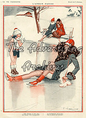 30573630 (The Advertising Archives) Tags: winter snow ice vintage french seasons iceskating skating illustrations erotica retro accidents falling posters learning artdeco saucy magazinecovers disasters lavieparisienne magazineartwork theadvertisingarchives magazineplates