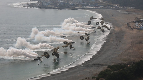 From flickr.com: Waves of ROK, U.S. Marines roll onto beach [Image 2 of 5] {MID-261565}