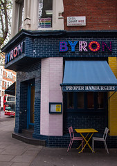 Byron's Proper Hamburgers on Cecil Court - London, UK (ChrisGoldNY) Tags: city uk greatbritain travel viaje england urban food london english colors canon buildings funny colorful forsale chairs unitedkingdom britain bricks restaurants tables gb albumcover british bookcover colourful bookcovers albumcovers eater consumerist licensing englan chrisgoldny chrisgoldberg properhamburgers chrisgoldphoto chrisgoldphotos