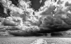 Regenbuitje boven Holwerd (JnHkstr) Tags: clouds waddenzee vakantie zwartwit wolken ameland veerboot 2016 wolkenlucht